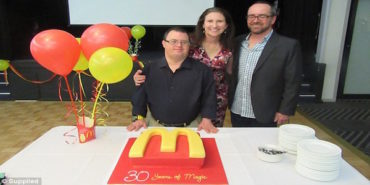 McDonald's worker with Down syndrome celebrates 30 years with the fast food company
